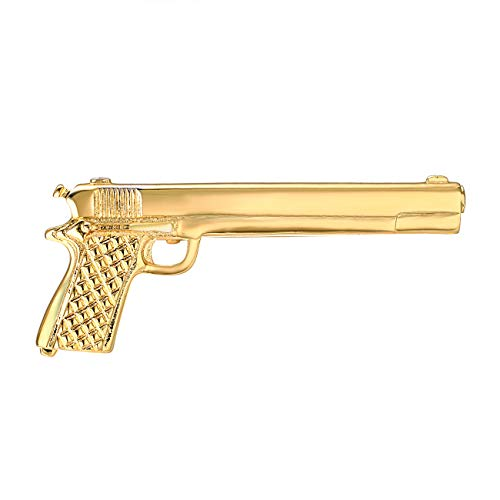 Yoursfs Gun Tie Clip for Boys Cool Novelty Tie Pin Gold Plated Personalized Skinny Tie Bar