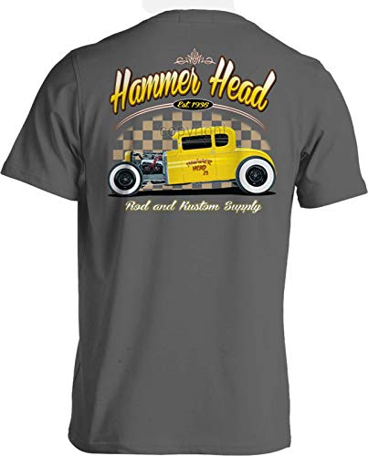 Mens Hot Rod T-Shirt Vintage Racing American Graffiti Rat Rod Drag Racing Ford Deuce Coupe (Hot Rod Gray, Large)