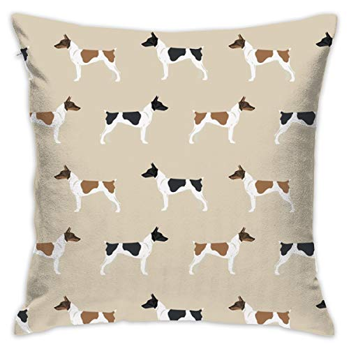 smartgood Rat Terrier Dog Fabric Simple Pattern_3767 Throw Pillow Covers Soft Particles Cotton Linen Cushion Covers 18 X 18 inch for Couch Bedroom Car