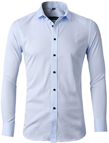 Men's Bamboo Fiber Dress Shirts Slim Fit Solid Long Sleeve Casual Button Down Shirts, Elastic Formal Shirts for Men,Blue Shirts,15
