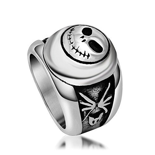 Yunsion Vintage Black JACK Ring 316L Stainless Steel Titanium Men Ring Cool Punk Fashion Jewelry Aging Treatment 1 piece (Nightmare Before Christmas Jewelry)