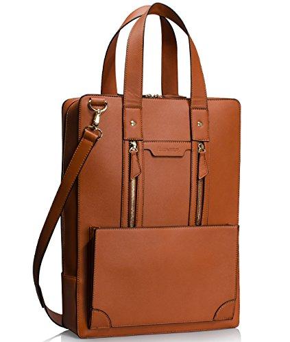 (Estarer Women Business Briefcase Handbag PU Leather 15.6 Inch Shoulder Laptop Work Bag)