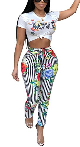 Darceeneth Womens Two Piece Outfits Floral Crop Shirts Top Striped Bodycon Stretch Skinny Pants Jumpsuit