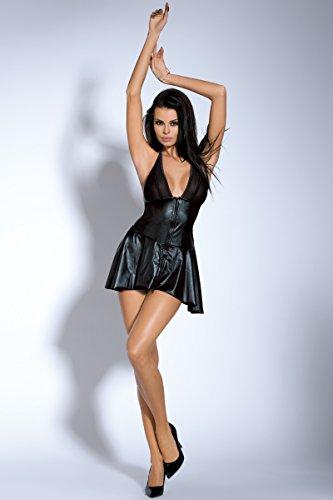 moda saphira Mini schiena e Black String nero vinile Spalle Noir e incluso nuda Raso abito wqU1dq