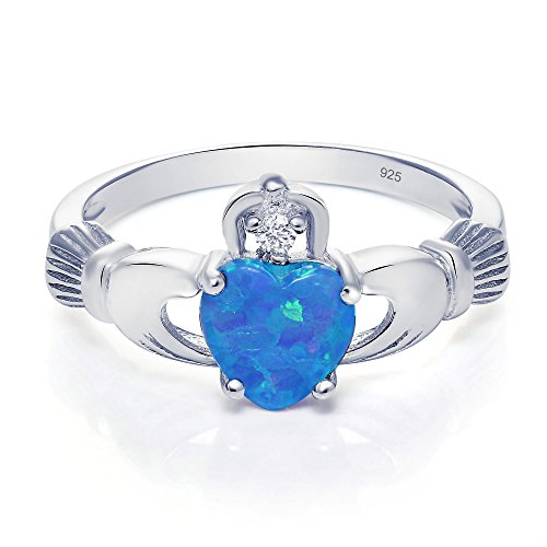 Sterling Silver Claddagh Promise Ring For Her with lab-created Blue Opal And Cubic Zirconia, 8mm - Dublin Sales Shopping