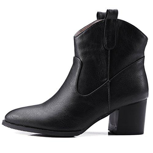 Cowboy Bout Boots Courtes Pour Talon Ye Mi Chaude De Hiver Noir ISwxY
