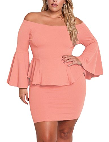 (VINKKE Womens Peplum Off The Shoulder Party Plus Size Mini Dress Dusty Pink-XXL)