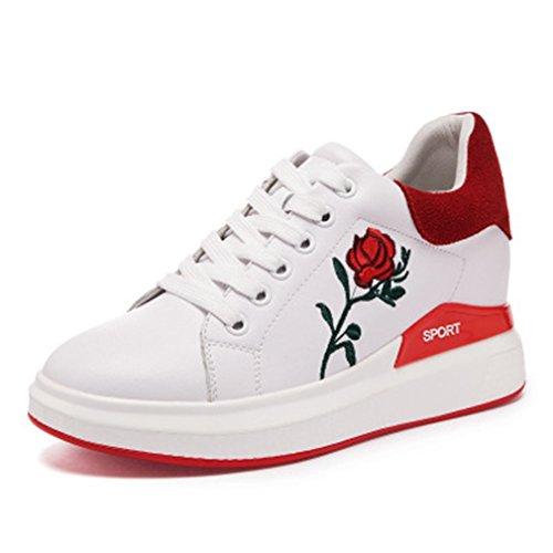 Giy Femmes Haut Haut De La Mode Espadrilles Lacets Jusquà La Plate-forme Bout Rond Talon Caché Fleur Sneaker Chaussures Blanc-rouge
