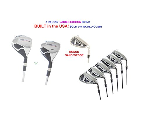 AGXGOLF Ladies XS Tour ALL Graphite Edition Stainless Steel Irons Set w/4 & 5 Hybrids + 5-9 Irons + Pitching Wedge + Sand Wedge: Lady Flex, Regular Length; Right Hand: - Wedge Iron Set Pitching 3