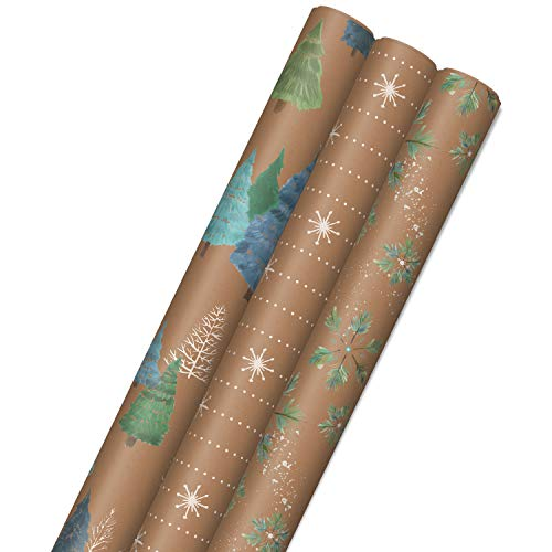 Hallmark Holiday Sustainable Kraft Gift Wrap with Cut Lines on Reverse (3 Rolls: 90 sq. ft. ttl) Wintry Nature: White…