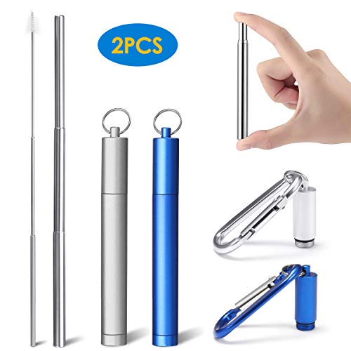 - LIUMY 2 Pack Collapsible Drinking Straws, Portable Stainless Drinking straws Reusable and Eco-friendly with Carrying Case, Cleaning Brush, Keychain for Travel, Home, Office(Blue and Silver)