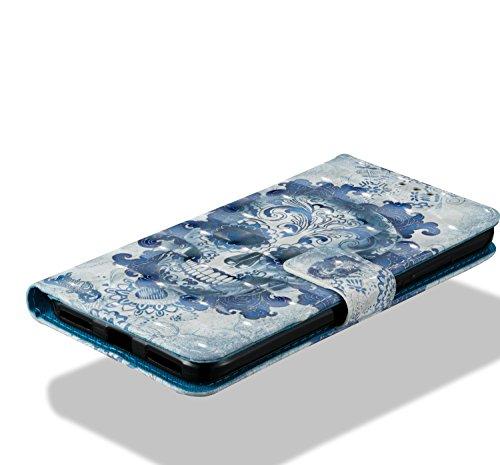 Para Xiaomi Redmi 5A funda, Ecoway pintura 3D caja del teléfono de la PU patrón en relieve ,Función de Soporte Billetera con Tapa para Tarjetas correa - Cráneo Cloud Kito