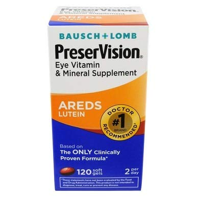 Bausch & Lomb PreserVision with Lutein 120 Soft Gels (Pack of 8)