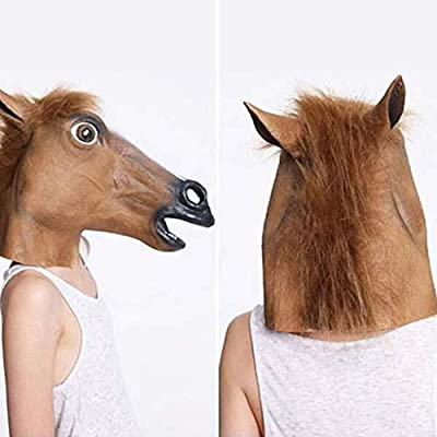 Novelty Halloween Costume Party Animal Head Mask Brown Horse Creepy Horse Head Mask,Horseman Mask,Brown Horse Mask, Rubber Latex Animal Mask Prop Style Toys Party Halloween (AS Show): Toys & Games