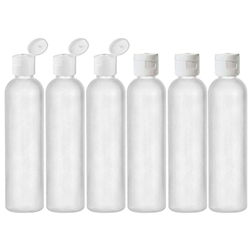 MoYo Natural Labs 8 oz Travel Bottles, Empty Travel Containers with Flip Caps, BPA Free HDPE Plastic Squeezable Toiletry/Cosmetic Bottles (6 pack, Translucent White) from MoYo Natural Labs