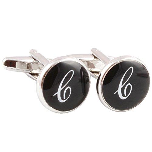HJ Men's 2PCS Rhodium Plated Cufflinks Silver Initial Letter Shirt Wedding Business 1 Pair Set Black (New Rhodium Cufflinks Cufflink)