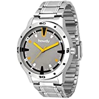 Howdy Analog Stainless Steel Strap Men's Watch (Yellow-Silver)