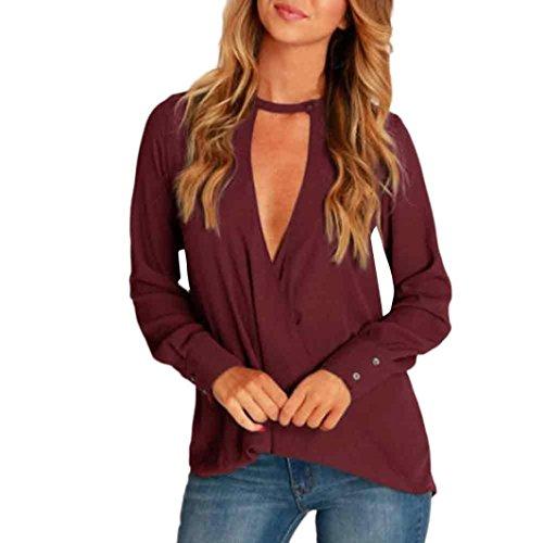 V tour de Chemisier lache mousseline Tops cou soie femme Femmes en Blouse de Vin Transer sexy cou chemise H4g0qg1B