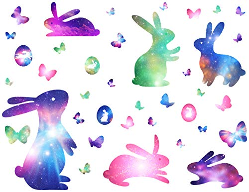 Easter Wall Decorations (Mozamy Creative Easter Wall Decals Bunny Decals Easter Eggs Wall Decals Easter Bunnies Wall Stickers Galaxy Rabbits Easter Decorations Peel and Stick Wall)
