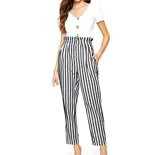 CCatyam Plus Size Pants for Women, Trousers Striped Print Button Sexy Casual Fashion Gray