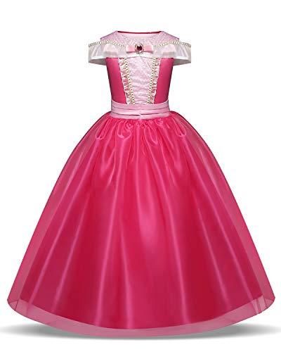 HNXDYY Girls Princess Aurora Dress Costume Carnival Party Elegant Dress,150,8-9 Years,Rose