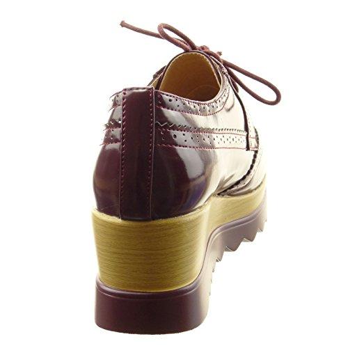 Sopily - Zapatillas de Moda zapato derby zapatillas de plataforma Tobillo mujer perforado Talón Plataforma 5.5 CM - Rojo
