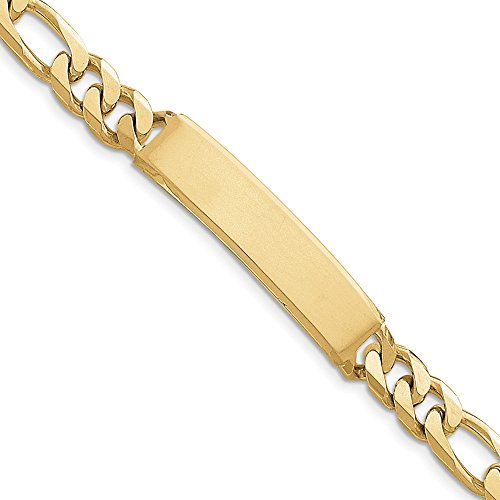 14k Yellow Gold Solid Figaro ID Bracelet 8inch by Diamond2Deal