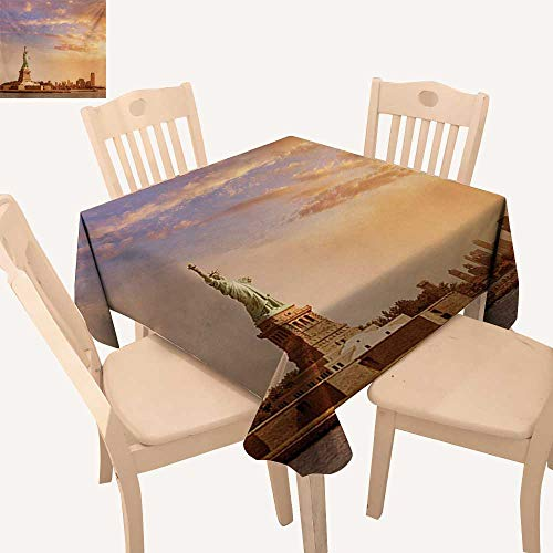 Angoueleven Sculptures Fabric Tablecloth Statue of Liberty American Freedom Symbol on NYC Sunset with River Skyscraper Kitchen Table Cover Yellow White W 36
