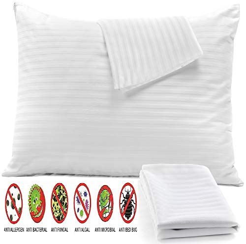"4Pack Anti Allergy Pillow Protectors Standard 20x26"" 100% Cotton Sateen Bed Bug Dust Mite Lab Tested Tight Weave❤️Life Time Replacement ❤️ Premium Thread Count 450 Style Non Noisy Zip Breathable White"