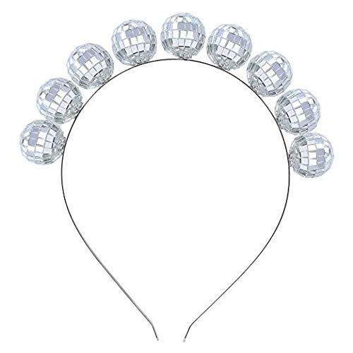 Coucoland Vintage Disco Ball Headband 1970s Disco Costume Headpiece Disco Ball Head Bopper Headpiece Accessories for Disco Party (Silver)]()