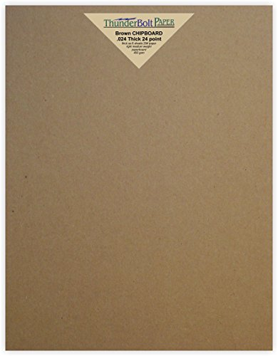100 Sheets Chipboard 24pt (point) 8.5 X 11 Inches Light Medium Weight Standard Letter|Flyer Size .024 Caliper Thick Cardboard Craft Packaging Brown Kraft Paper Board by ThunderBolt Paper
