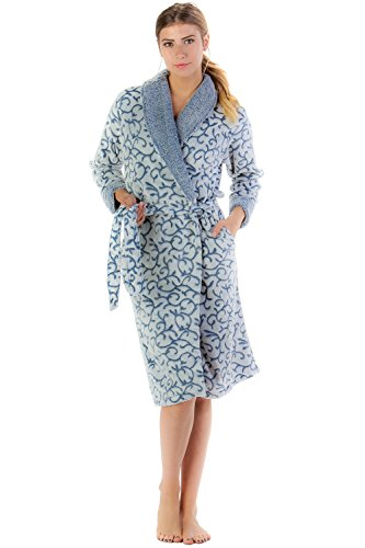 Casual Nights Women's Jacquard Print Fleece Plush Robe - Blue Berry - ()