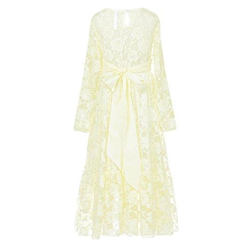 Princess Floral Party Pageant Long Cream Lace Girls TiaoBug Wedding Dress 5qxwPC7tf