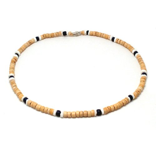 Light Brown Coco Bead Hawaiian Surfer Necklace with White Pukalet Shell and Dark Blue Coco Bead Accents, Barrel Lock (18 IN) (Shell Brown Necklace Coco Bead)