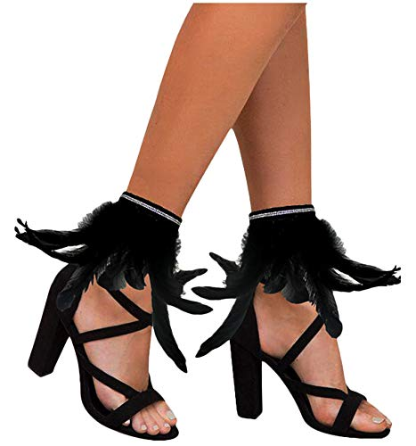 (L'VOW Gothic Feather Ankle Cuffs Foot Anklet Bracelet Armlet Armband Shrug Epaulet Halloween Accessories (Black) )