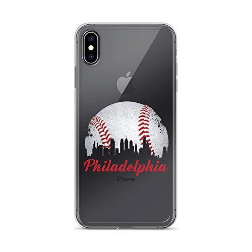 (iPhone Xs Max Pure Clear Case Crystal Clear Cases Cover Philadelphia Downtown Baseball Philly Skyline Transparent)