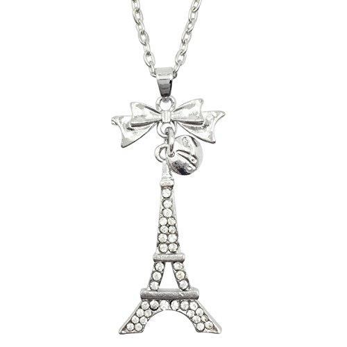 (Dainty Eiffel Tower Paris with Bow Rhinestone Necklace (Silver Tone))