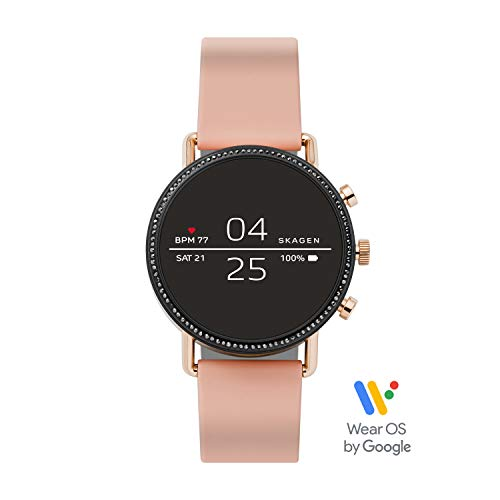 Skagen Connected Women's Falster 2 Stainless Steel and Silicone Touchscreen Smartwatch, Color: Rose Gold-Tone, Pink (Model: SKT5107)