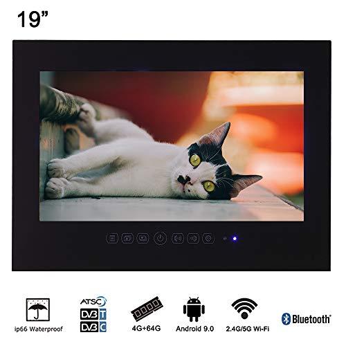 Soulaca 19″ Shower Room Smart WiFi Bathroom Frameless LED TV Waterproof Display (Black)
