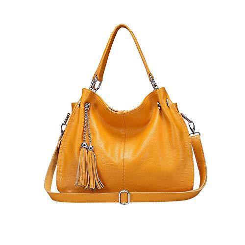 Bolsa De 38 Messenger Capacidad Tamaño Color Compras Gran Mano Fringe Lady 28cm Simple Amarillo Hombro Citas Tote Bolsos Mujeres 14 Dxqi Señora Bag Moda Casual Las 0qwCBxf