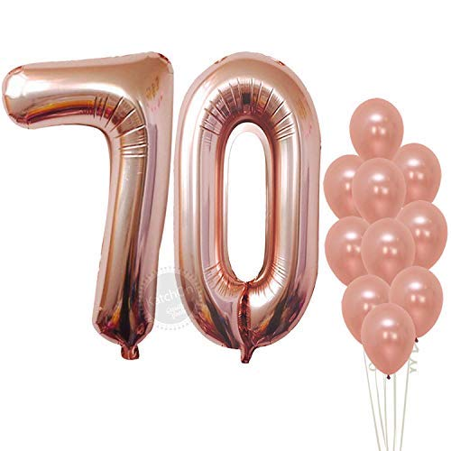 Rose Gold 70 Number Balloons, Large, Pack of 12 | 70th Bday Rose Gold Balloons Party Decorations Supplies Kit | Foil Mylar Number 7 and 0 and Latex Balloon Decor ()