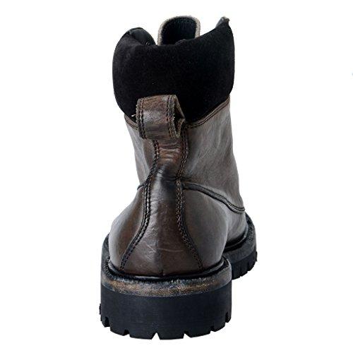 Dolce & Gabbana Manar Läder Militära Stövlar Skor Svart / Grå