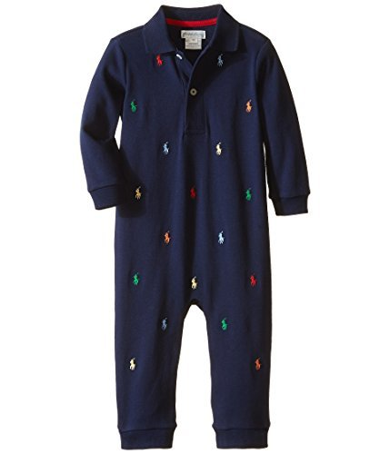 - Ralph Lauren Baby Boys Pony Cotton Interlock Coverall Navy (newborn)