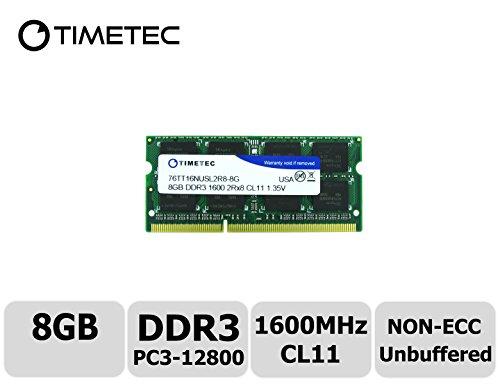 Timetec Hynix IC 8GB DDR3 1600MHz PC3-12800 Non ECC Unbuffered 1.35V CL11 2Rx8 Dual Rank 204 Pin SODIMM Laptop Notebook Computer Memory Ram Module Upgrade(8GB) - Ram & Memory Upgrades