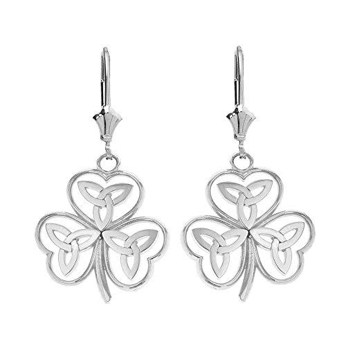 Celtic Claddagh Earrings (Fine 925 Sterling Silver Irish Shamrock Earrings with Celtic Trinity Knot)
