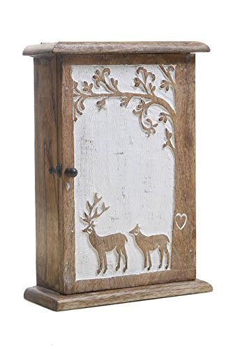 - Vintage Style Wooden 6 Key Hooks Holder Rack Box Wall Mounted Cabinet Hand Carved Reindeer Design with Distressed Finish Shabby Chic Home Decor