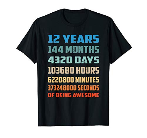 12th Birthday Gift T Shirt 12 Years Old Being Awesome Shirt ()