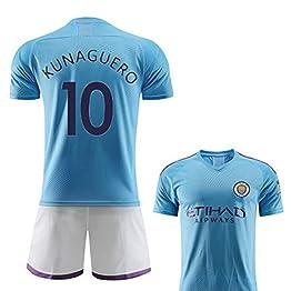 FNBA 2019-2020 Maillot Enfant Jersey de Manchester City F.C 21 Silva 17 Debruyne 10 Sergio Agüero Maillot de Football Short Assorti