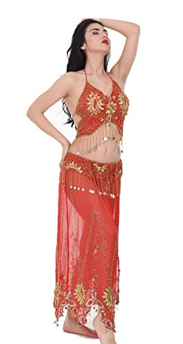 Turkish Belly Dancing Costume - Belly Dance Costume Set - Bellydance Sexy Dancer Costume for Women -Carnival Dancing Skirts - Made by Handmade Red