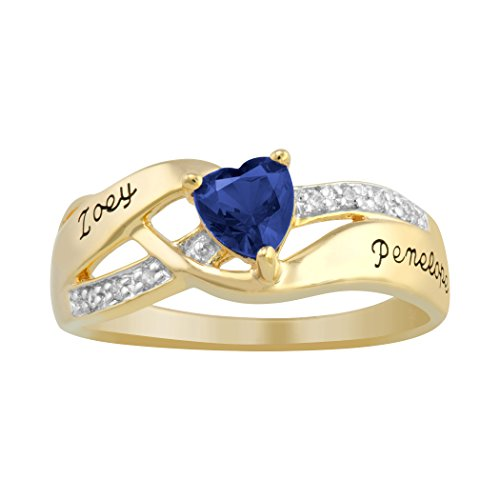 ArtCarved Mon Cherie Blue Sapphire Personalized Women's Ring, 10k Yellow Gold over Silver, Size (Artcarved Yellow Ring)